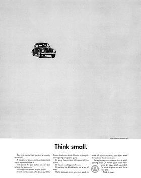 Manifesto per il lancio del Maggiolino in America con il claim Think Small